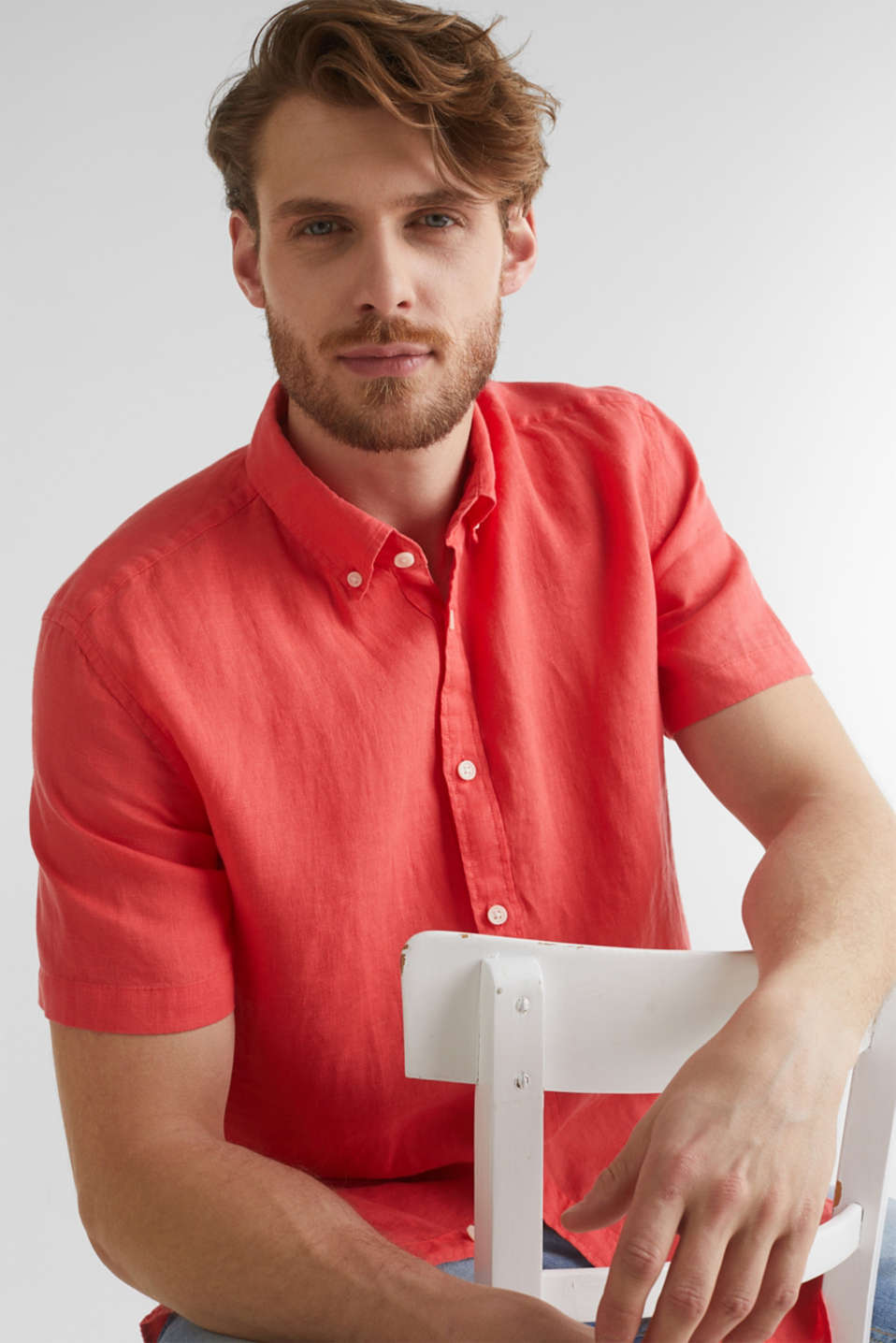 100% linen: button-down shirt, CORAL RED, detail image number 3
