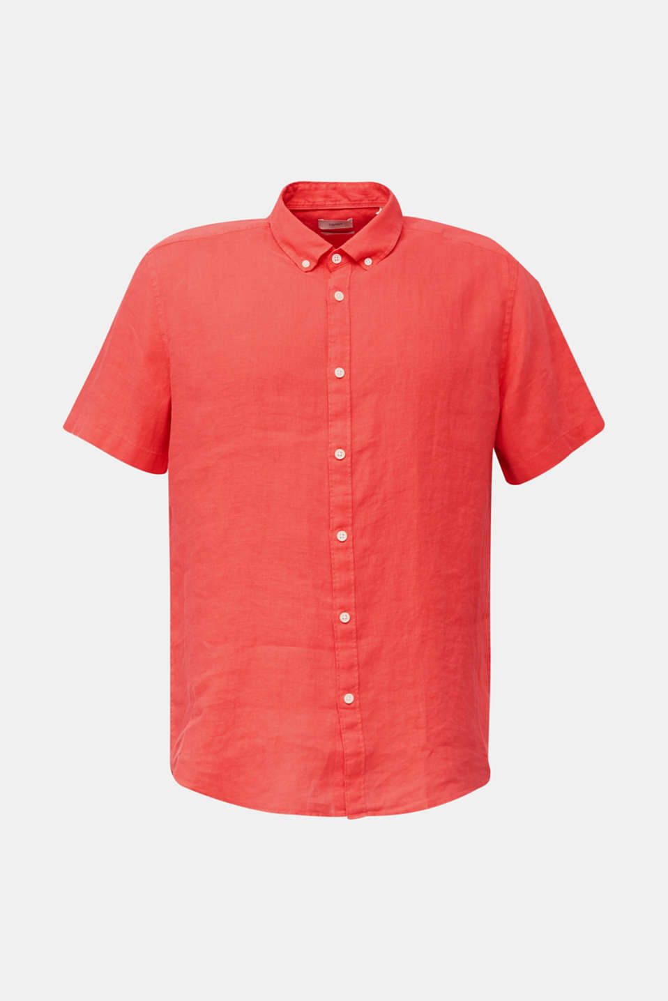 100% linen: button-down shirt, CORAL RED, detail image number 4
