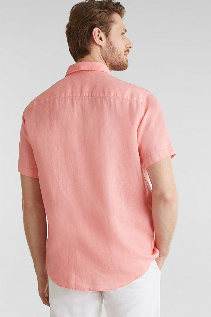 100% linen: button-down shirt, BLUSH, detail image number 3