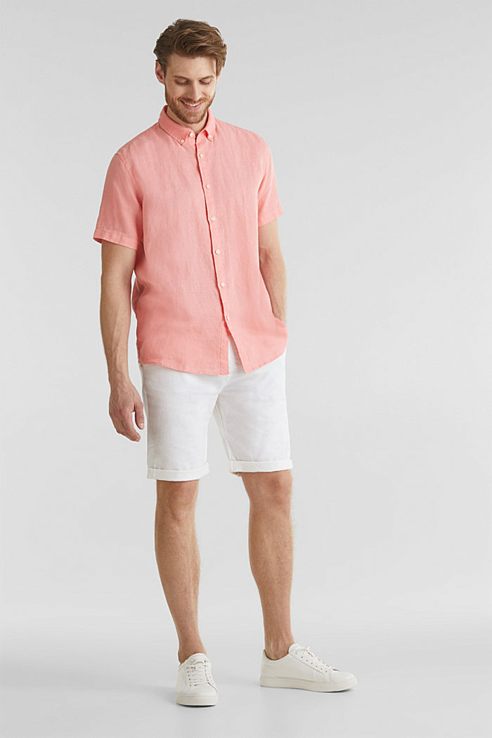100% linen: button-down shirt, BLUSH, detail image number 1