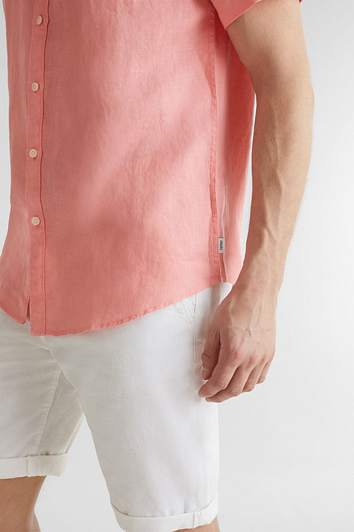 100% linen: button-down shirt, BLUSH, detail image number 2