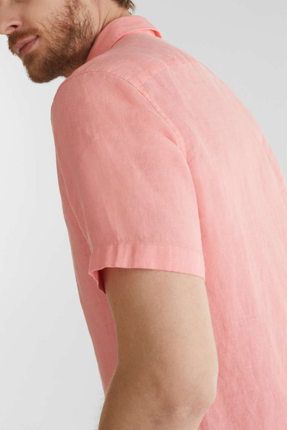 100% linen: button-down shirt, BLUSH, detail image number 5
