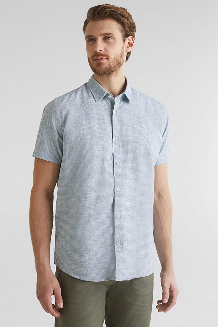 Met linnen: gemêleerd overhemd met korte mouwen, KHAKI GREEN, detail image number 0