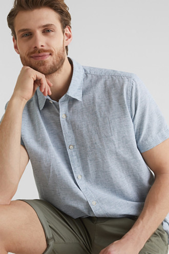 Melange short-sleeved shirt with linen