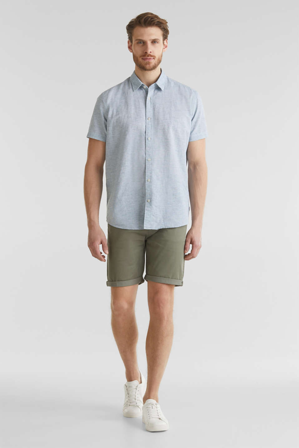 Melange short-sleeved shirt with linen, KHAKI GREEN 5, detail image number 1