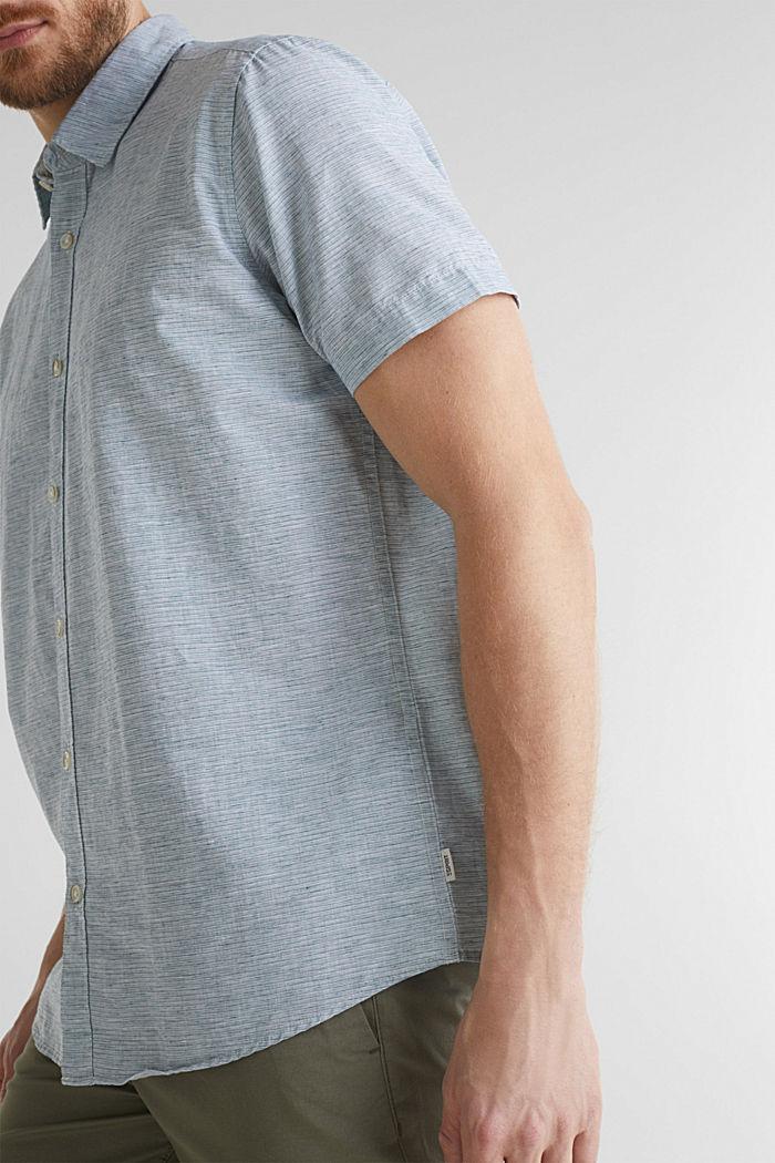 Met linnen: gemêleerd overhemd met korte mouwen, KHAKI GREEN, detail image number 2