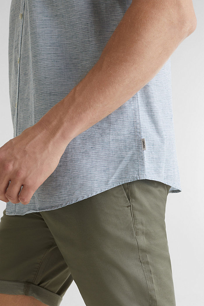 Met linnen: gemêleerd overhemd met korte mouwen, KHAKI GREEN, detail image number 5