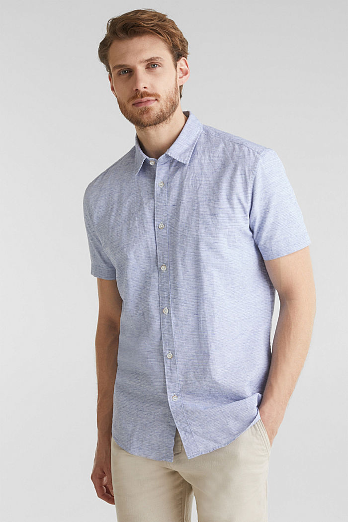 Mit Leinen: meliertes Kurzarm-Hemd