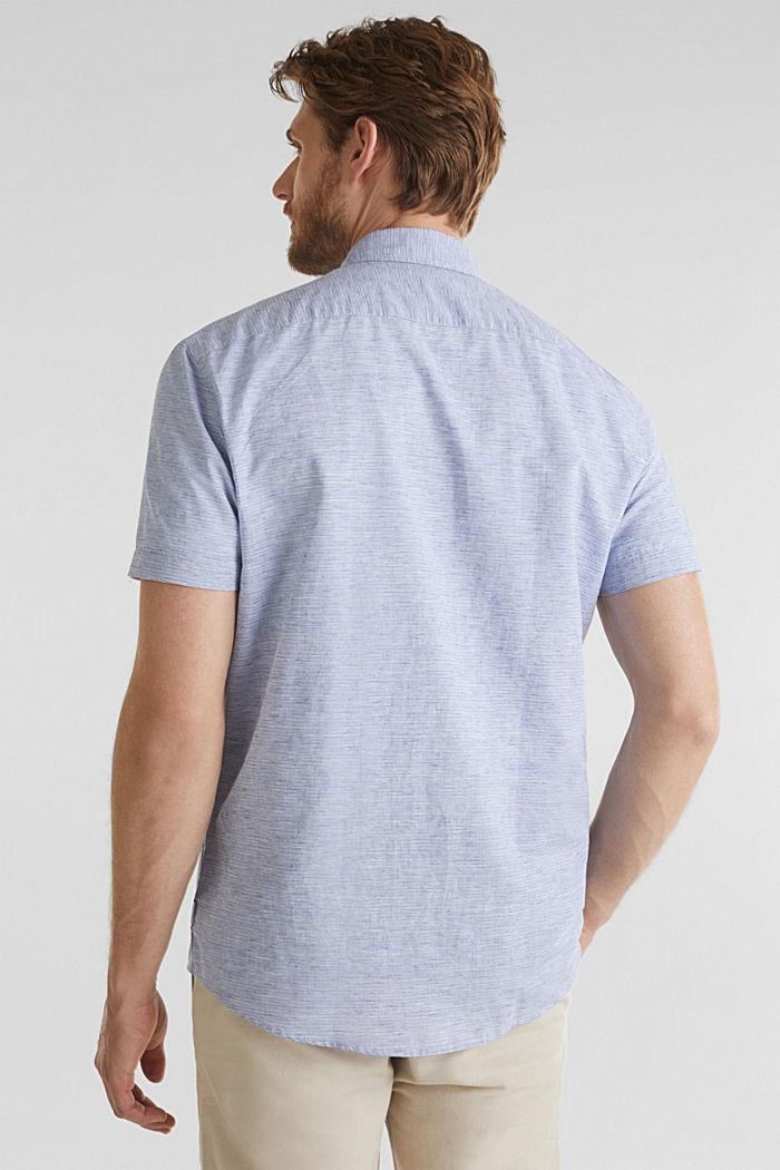 Melange short-sleeved shirt with linen, PASTEL BLUE, detail image number 3