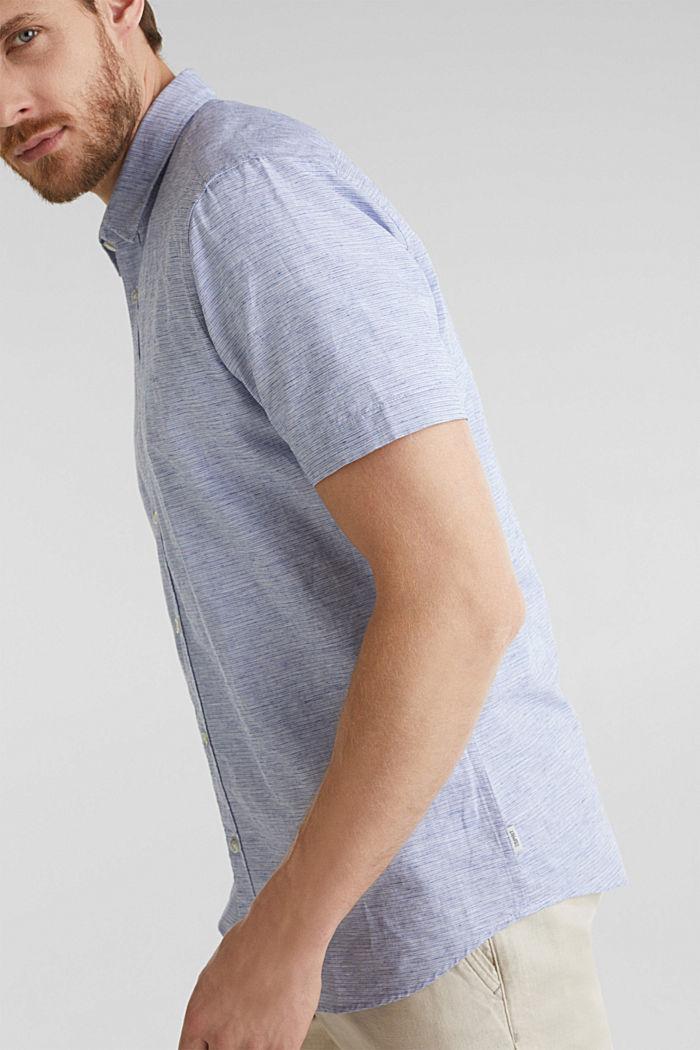 Melange short-sleeved shirt with linen, PASTEL BLUE, detail image number 5