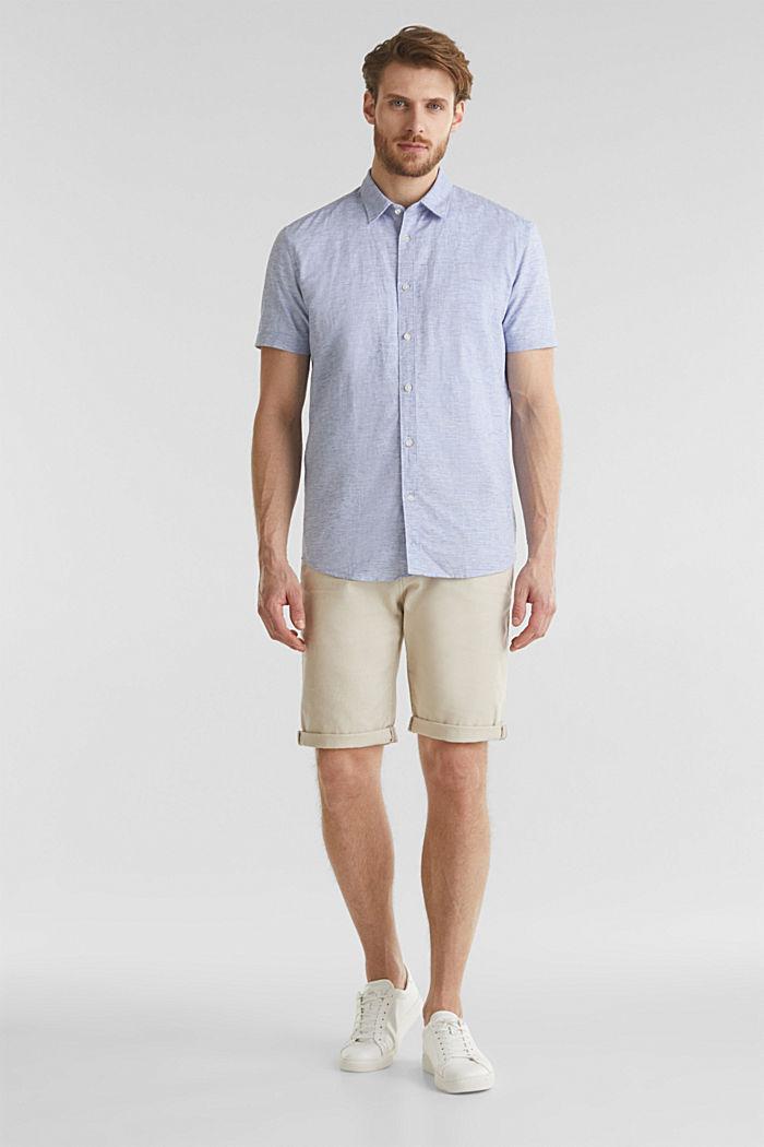 Melange short-sleeved shirt with linen, PASTEL BLUE, detail image number 1