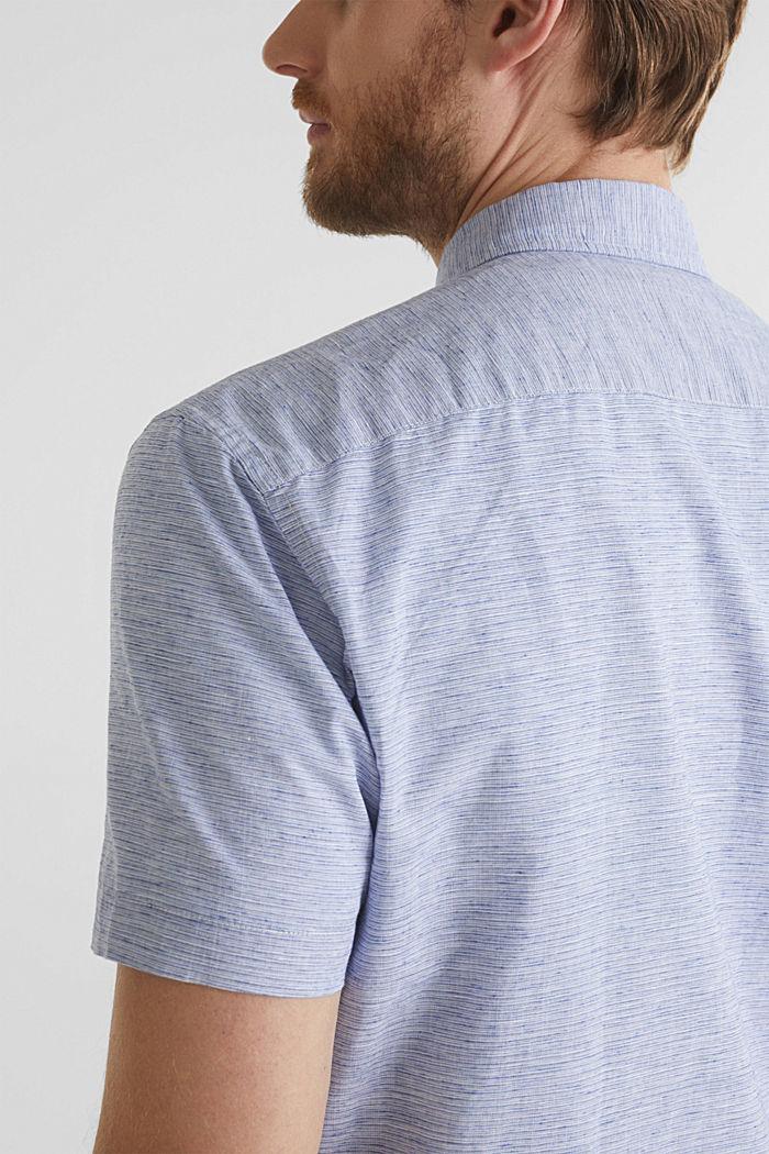 Melange short-sleeved shirt with linen, PASTEL BLUE, detail image number 2