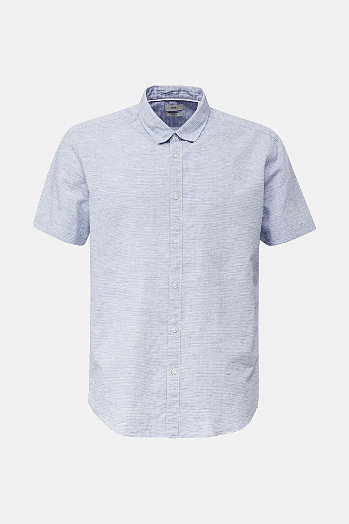 Melange short-sleeved shirt with linen
