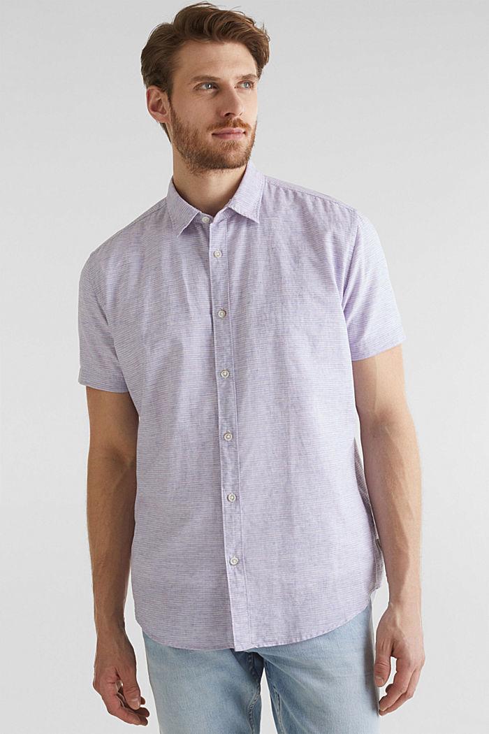 Melange short-sleeved shirt with linen, ORANGE RED, detail image number 0