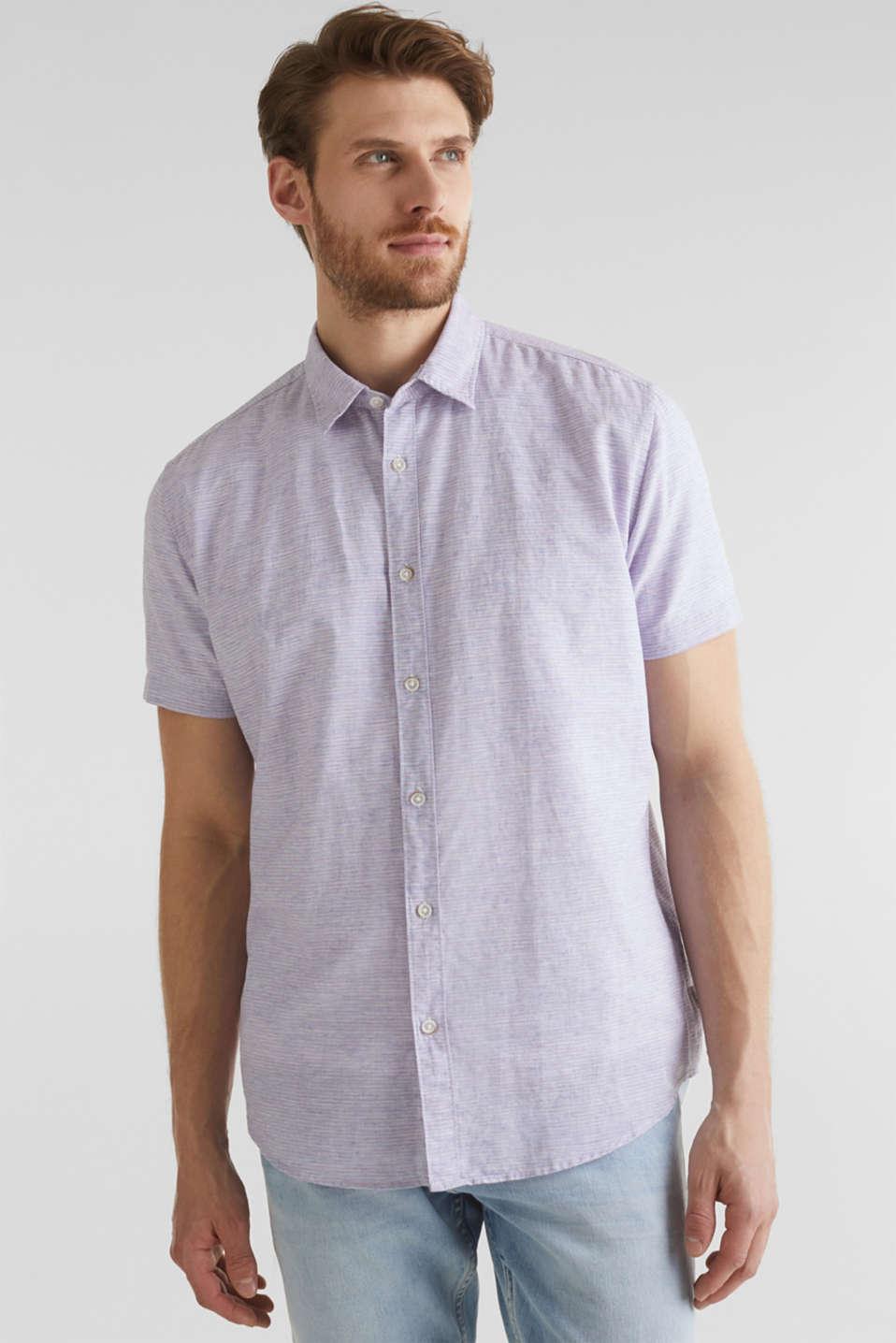 Melange short-sleeved shirt with linen, ORANGE RED 5, detail image number 0