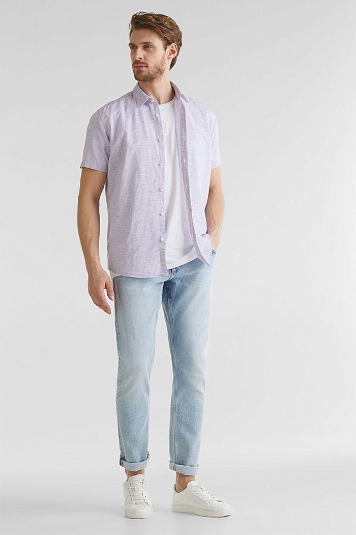 Melange short-sleeved shirt with linen, ORANGE RED, detail image number 1