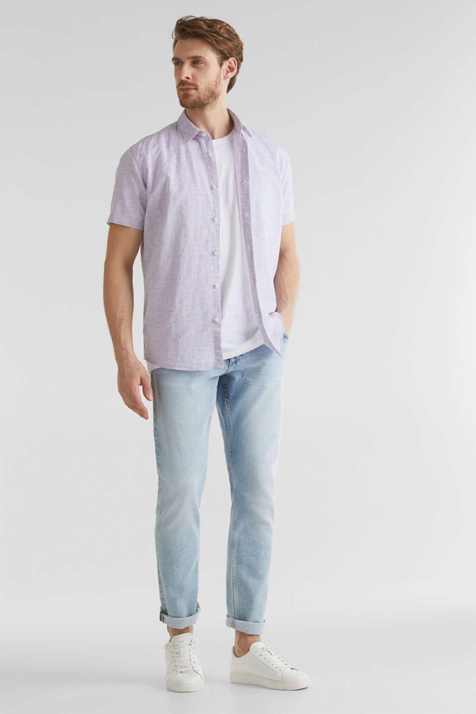 Melange short-sleeved shirt with linen, ORANGE RED 5, detail image number 1
