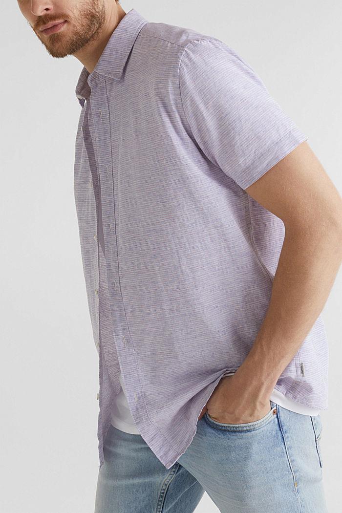 Melange short-sleeved shirt with linen, ORANGE RED, detail image number 2