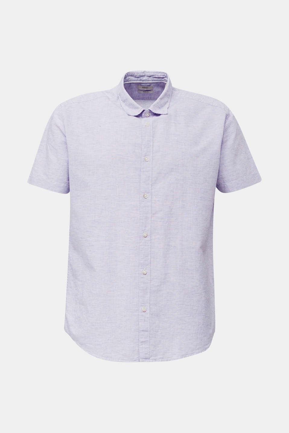 Melange short-sleeved shirt with linen, ORANGE RED 5, detail image number 5