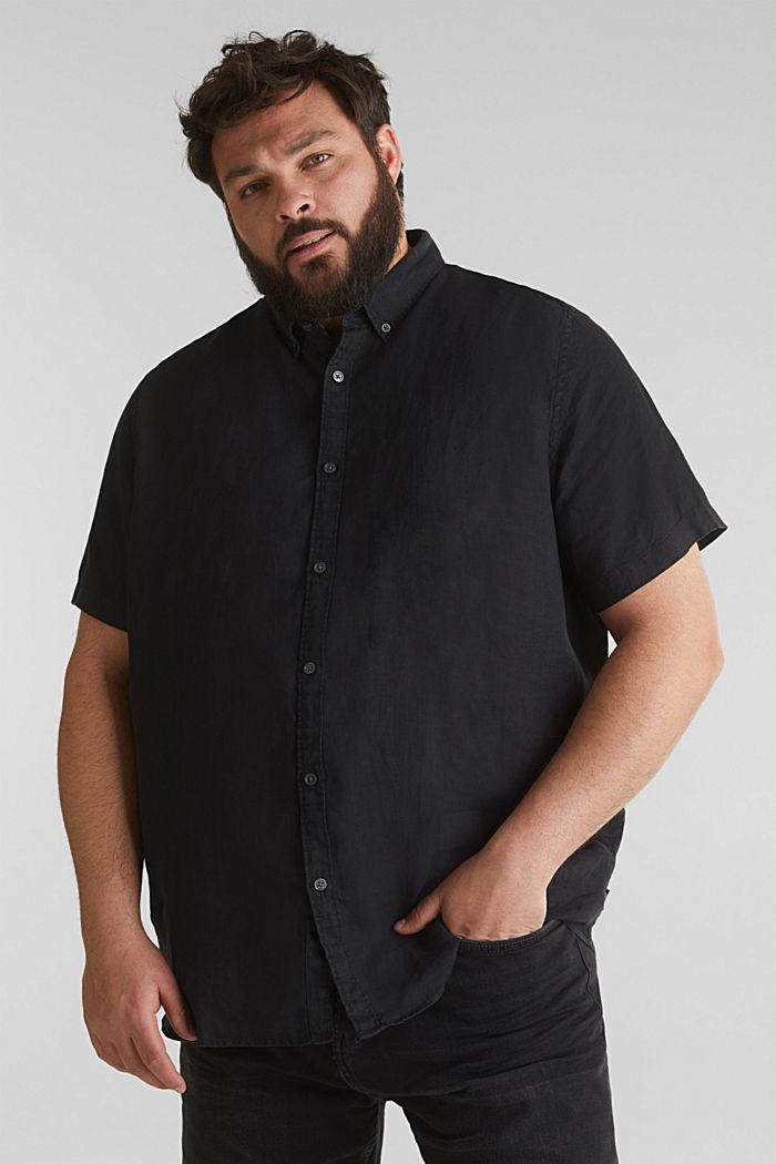 Made of 100% linen: Short-sleeved shirt, BLACK, detail image number 0