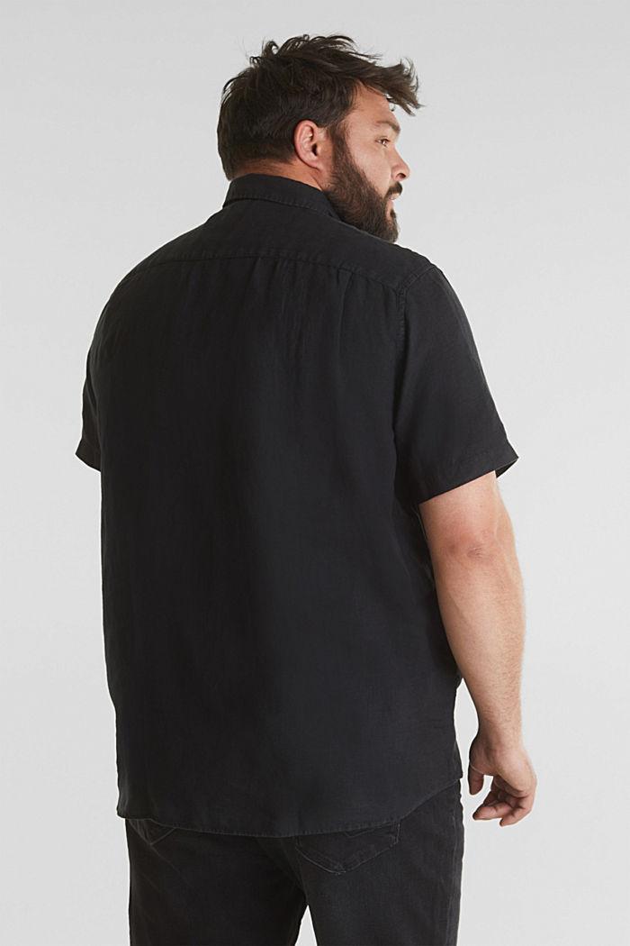 Aus 100% Leinen: Kurzarm-Hemd, BLACK, detail image number 3