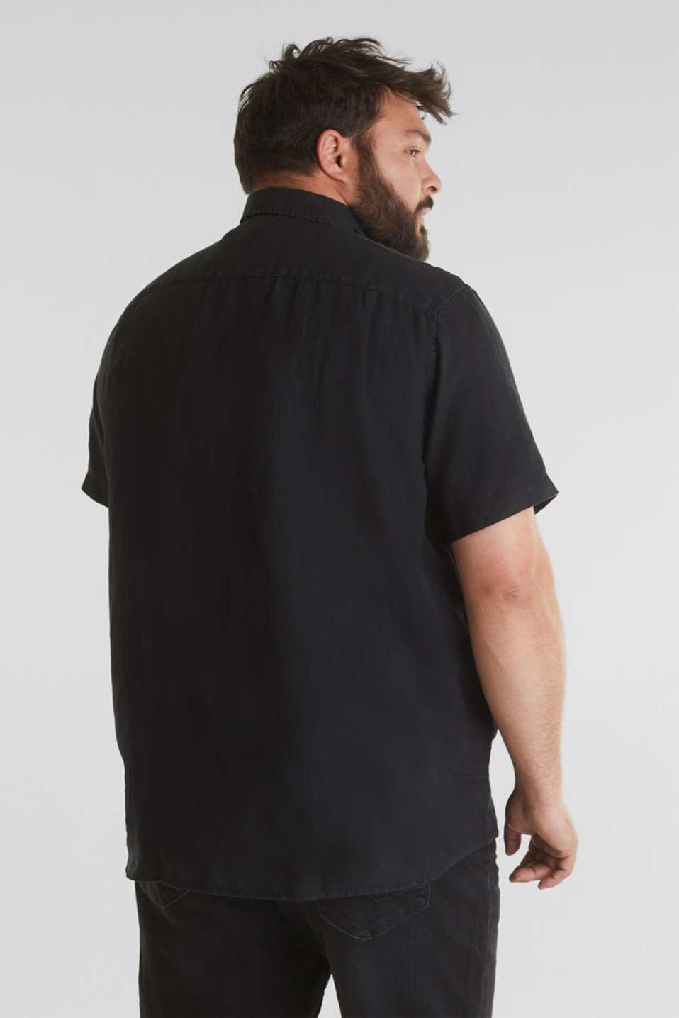 Made of 100% linen: Short-sleeved shirt, BLACK, detail image number 3