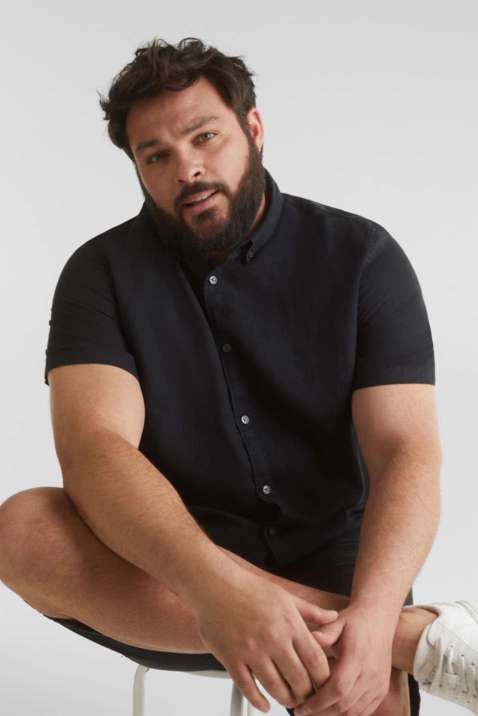 Made of 100% linen: Short-sleeved shirt, BLACK, detail image number 5