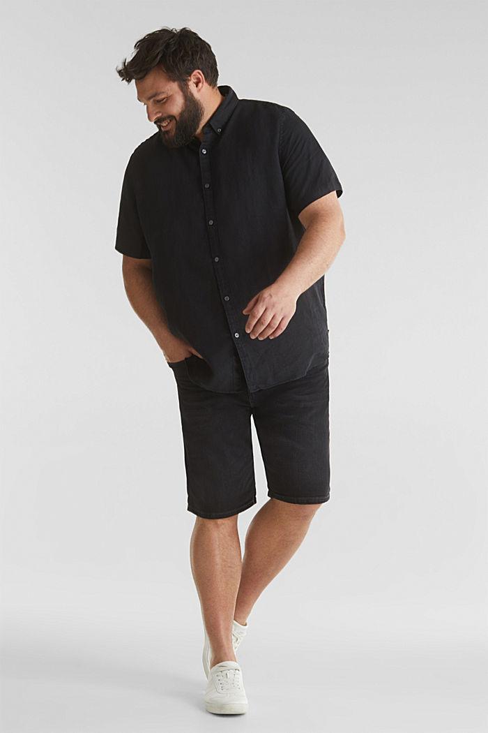 Made of 100% linen: Short-sleeved shirt, BLACK, detail image number 1
