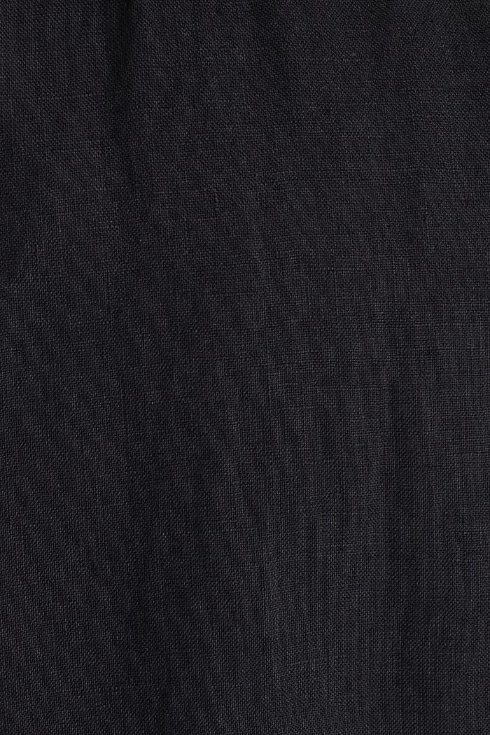Made of 100% linen: Short-sleeved shirt, BLACK, detail image number 4