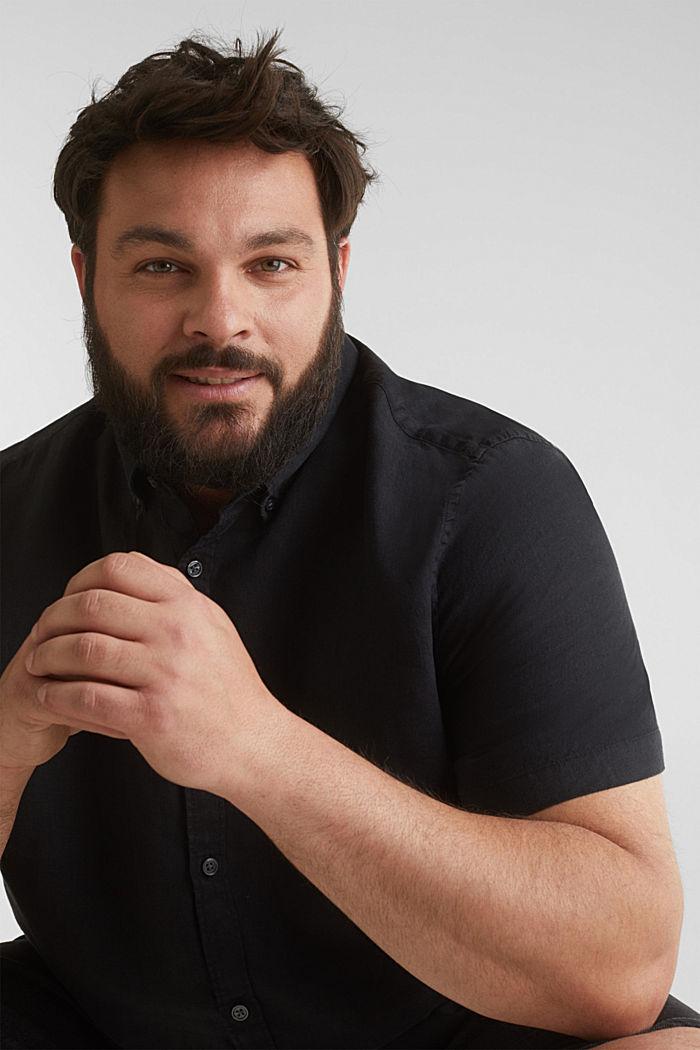 Made of 100% linen: Short-sleeved shirt, BLACK, detail image number 6
