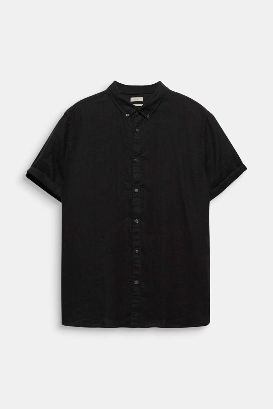 Made of 100% linen: Short-sleeved shirt, BLACK, detail image number 7