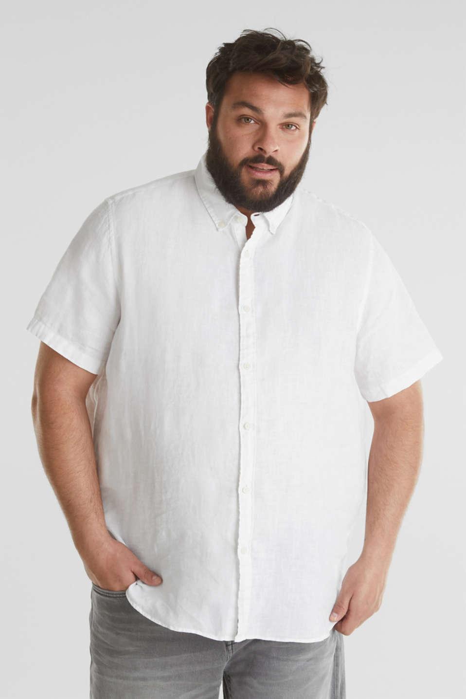 Made of 100% linen: Short-sleeved shirt, WHITE, detail image number 0