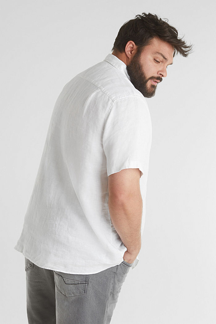 Aus 100% Leinen: Kurzarm-Hemd, WHITE, detail image number 3