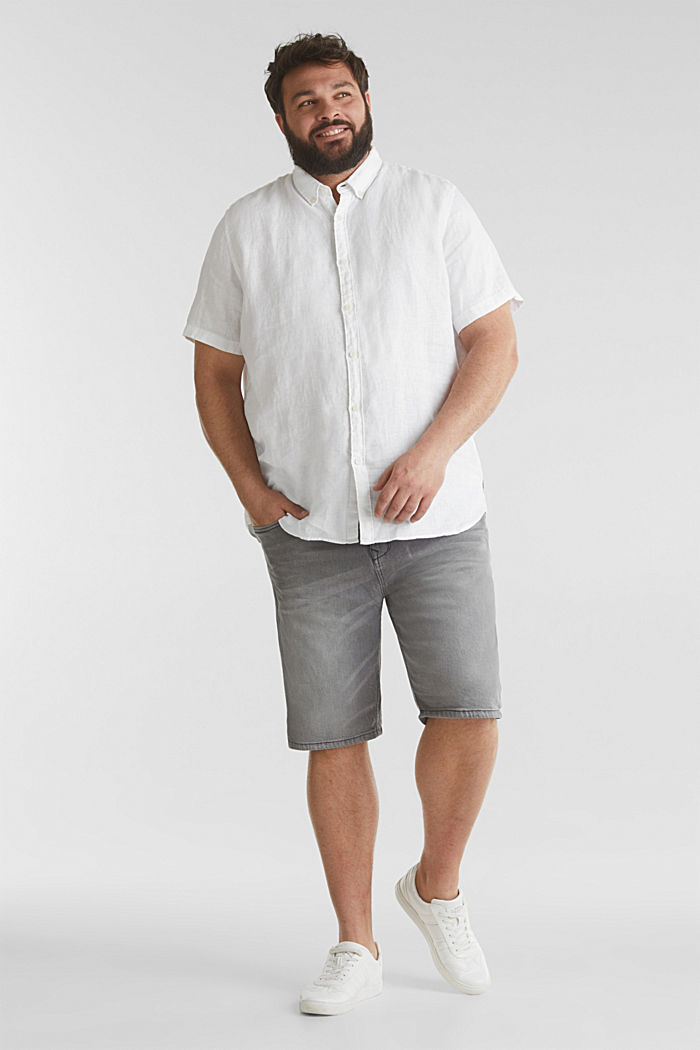 Aus 100% Leinen: Kurzarm-Hemd, WHITE, detail image number 1