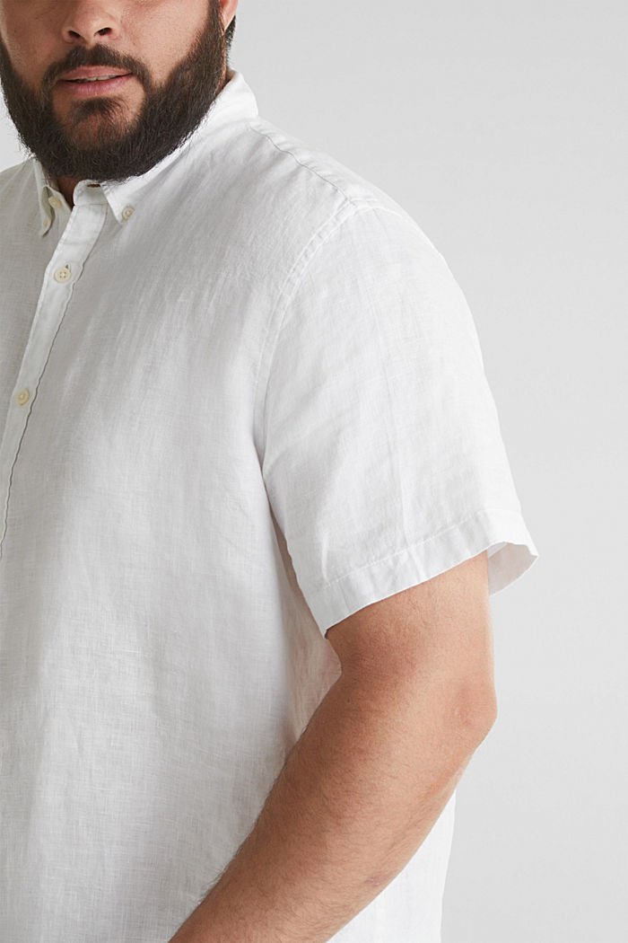 Made of 100% linen: Short-sleeved shirt, WHITE, detail image number 2