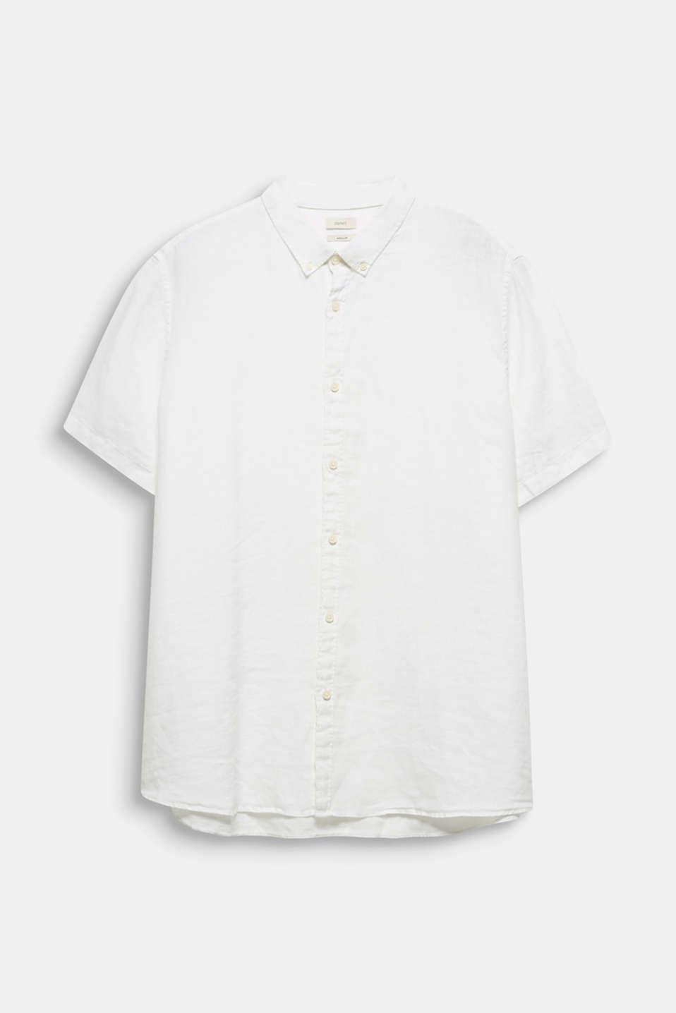 Made of 100% linen: Short-sleeved shirt, WHITE, detail image number 5