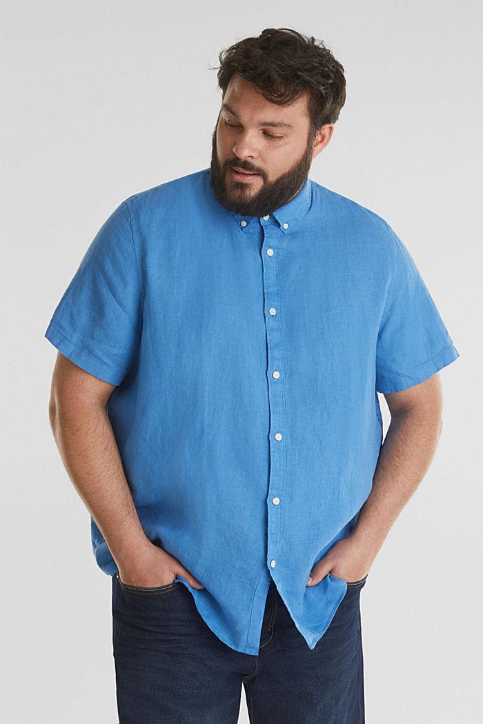 Made of 100% linen: Short-sleeved shirt, BLUE, detail image number 0