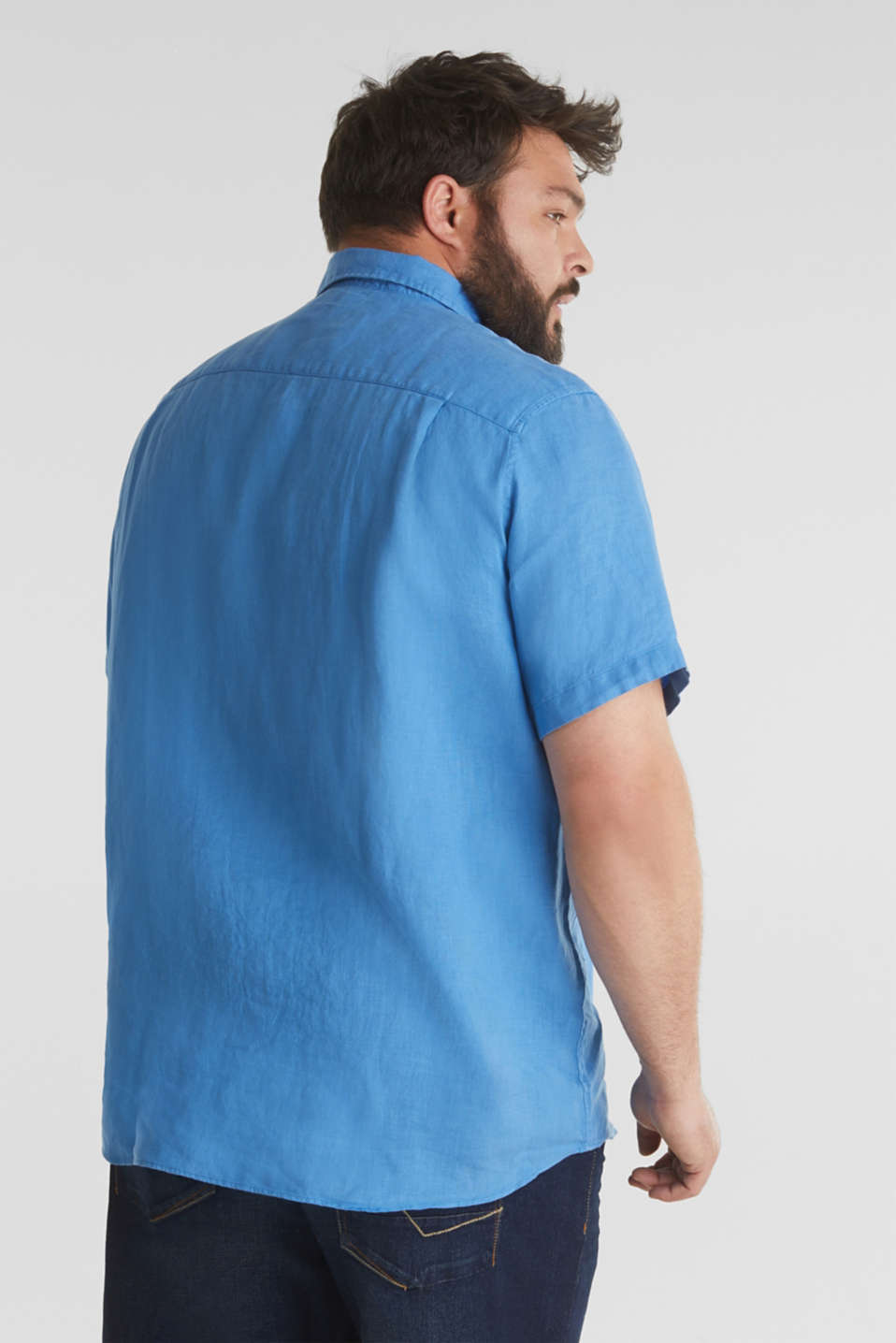 Made of 100% linen: Short-sleeved shirt, BLUE 2, detail image number 3