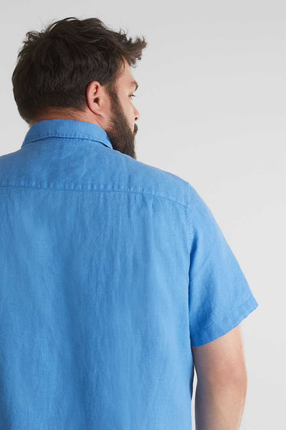 Made of 100% linen: Short-sleeved shirt, BLUE 2, detail image number 2