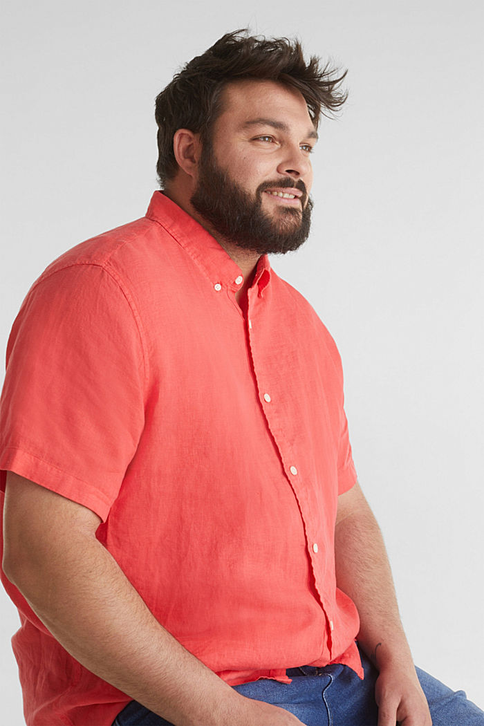 Made of 100% linen: Short-sleeved shirt, CORAL RED, detail image number 0