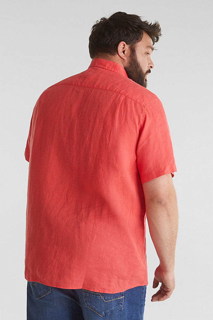 Made of 100% linen: Short-sleeved shirt, CORAL RED, detail image number 3