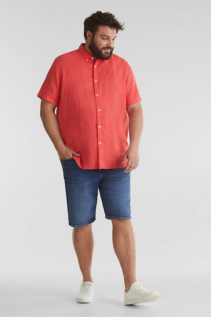 Made of 100% linen: Short-sleeved shirt, CORAL RED, detail image number 1