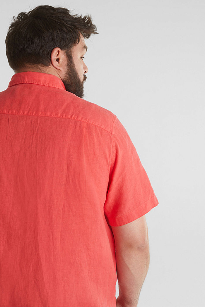 Made of 100% linen: Short-sleeved shirt, CORAL RED, detail image number 2