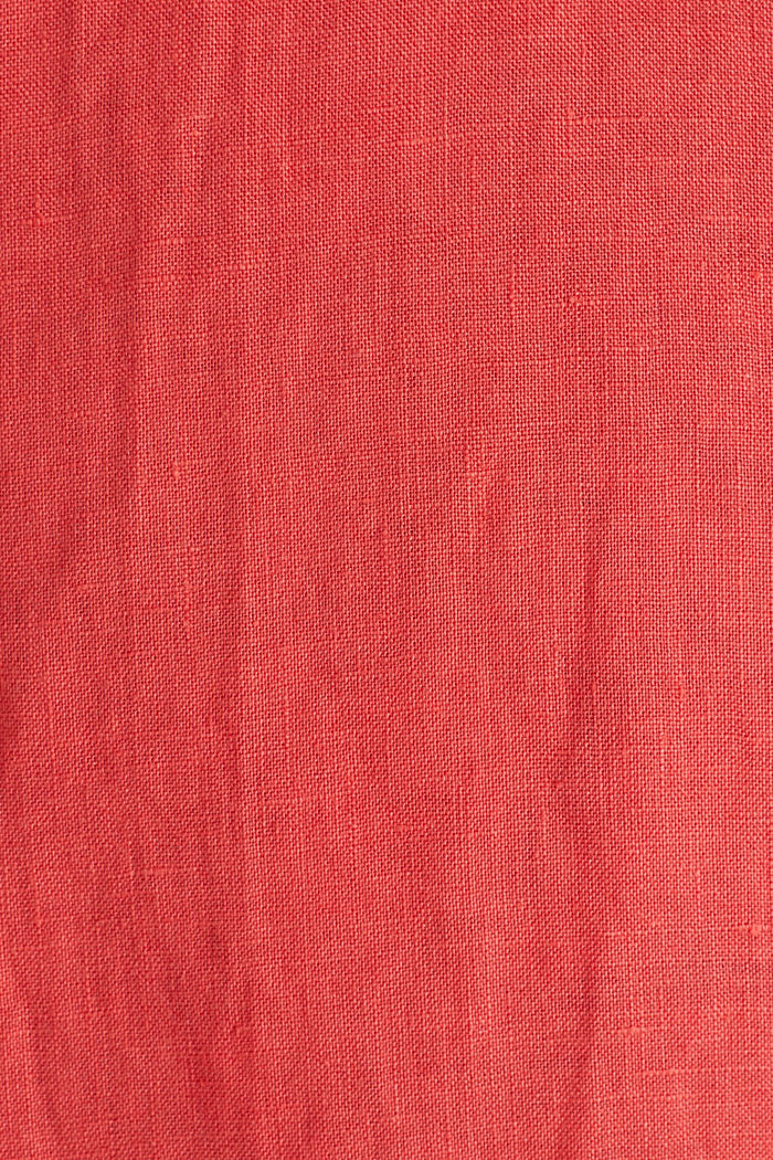 Made of 100% linen: Short-sleeved shirt, CORAL RED, detail image number 4