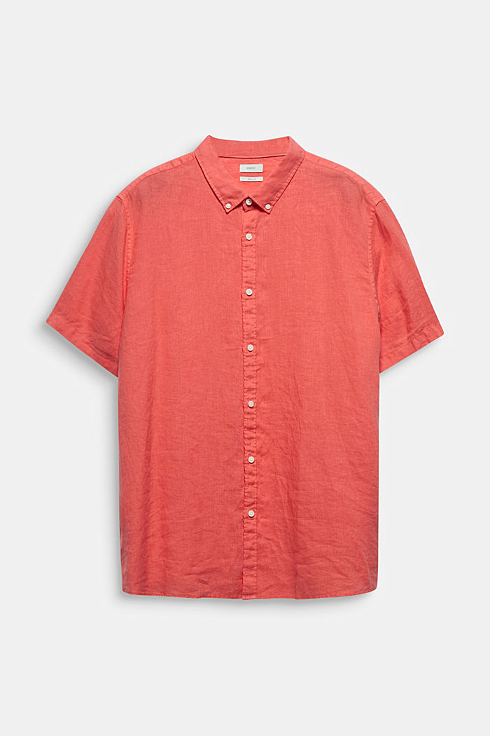 Made of 100% linen: Short-sleeved shirt, CORAL RED, detail image number 6