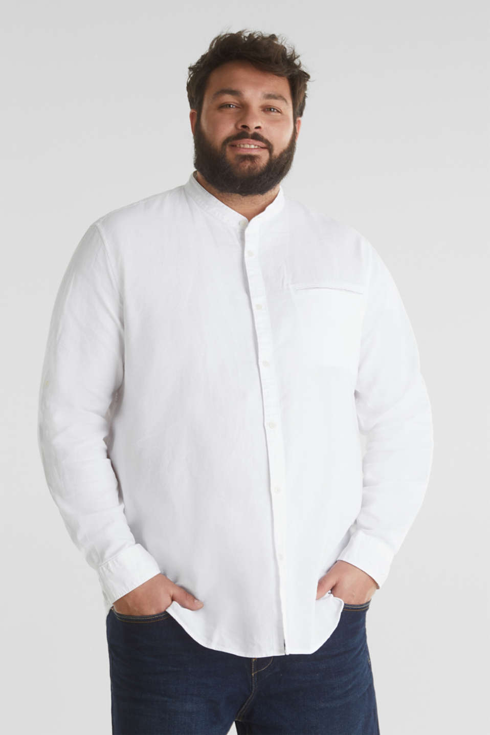 Stand-up collar shirt, 100% organic cotton, WHITE 5, detail image number 0