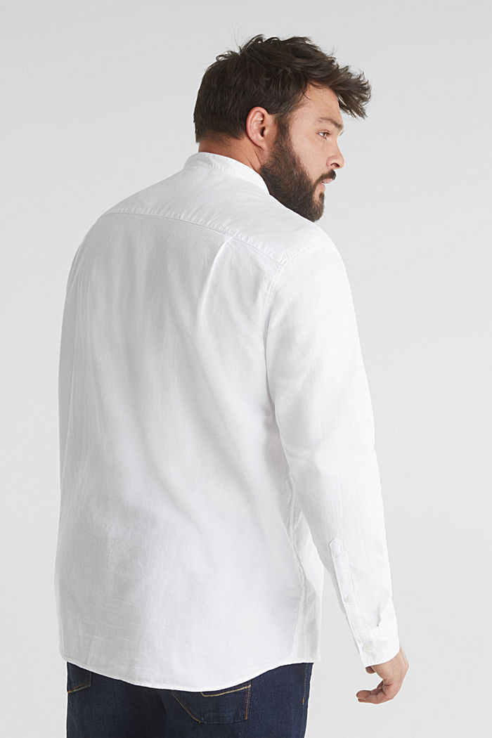 Stand-up collar shirt, 100% organic cotton, WHITE, detail image number 3