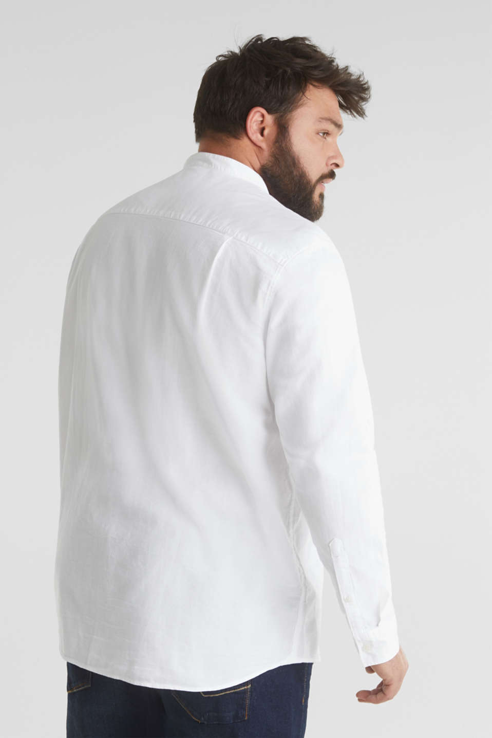 Stand-up collar shirt, 100% organic cotton, WHITE 5, detail image number 3