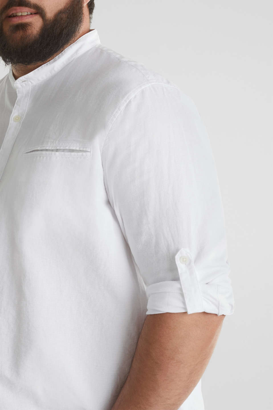 Stand-up collar shirt, 100% organic cotton, WHITE 5, detail image number 2