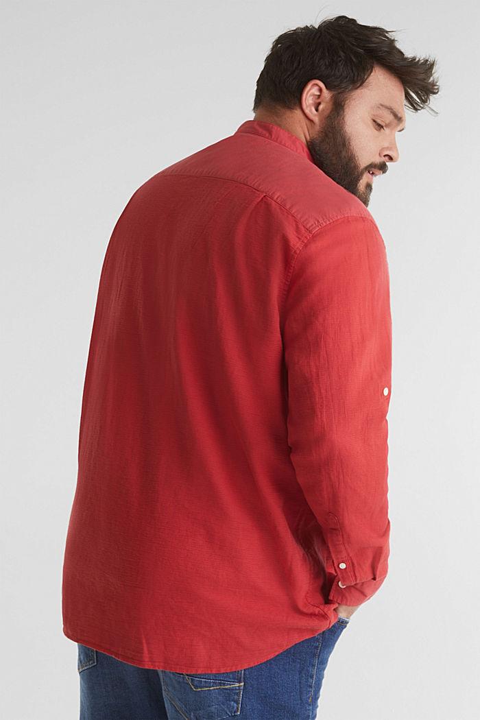 Stehkragen-Hemd, 100% Bio-Baumwolle, ORANGE RED, detail image number 3